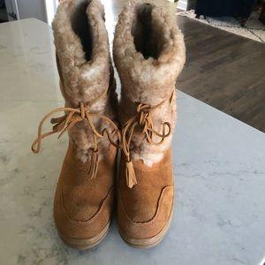 J Crew Adirondack Burnt Sienna shearling Boots 9